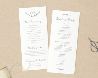Wedding Programs Template,Printable Programs, Instant Download, Editable Artwork and Text Colour, Edit in Word or Pages