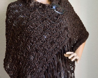 Hand knitted light women's shawl