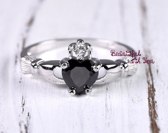 Onyx Black Cubic Zirconia Claddagh Celtic Traditional Irish Promise Fede Heart Ring Girls Childrens Womens Medieval Renaissance