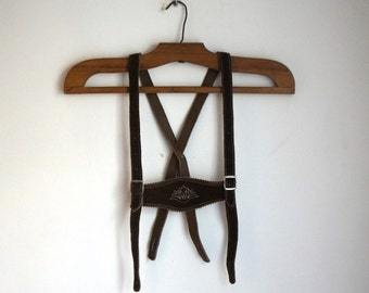 Teenager's bavarian lederhosen suspenders, brown suede dirndl harness, silver buckles, vintage folk German Alpentrachten fashion