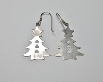 Vintage Large Sterling Silver Christmas Tree Earrings