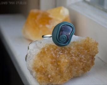 Swirly Blue Amethyst Statement Ring / Polymer Clay