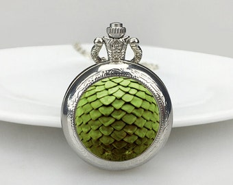 Green dragon scale Pocket Watch, Dragon scale Necklace,  Dragon Necklace, Dragon, pocket watch, Valentine's Day gift,Necklace, Dragon
