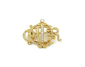 CHRISTIAN DIOR * Gorgeous jewelled monogram brooch