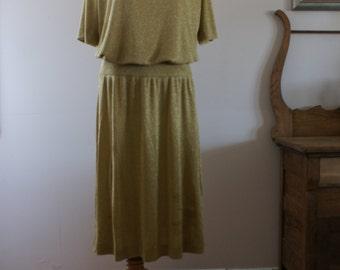 1970's Gold Lurex Vintage Short Sleeve Blouse and Drop Waist Skirt 2 Piece Set/Suit Size Medium BT-382