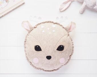 Rosie the Deer wool felt cushion