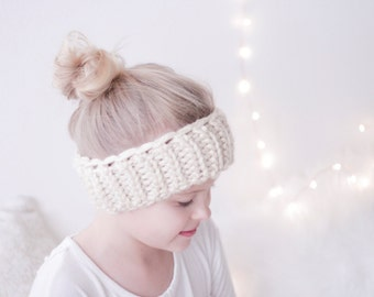 Chunky, stretchy headwrap, cozy headwarmer, earwarmer, headband for KIDS / TWEENS beige / ivory color