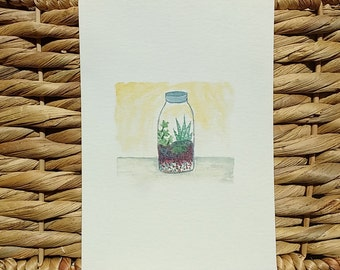 Tiny Terrarium Series: Jar Terrarium, Watercolor Print