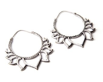 Big Lotus White Brass Hoop Earrings Tribal Earrings Jewellery Free UK Delivery Gift Boxed Same Day Dispatch WB51
