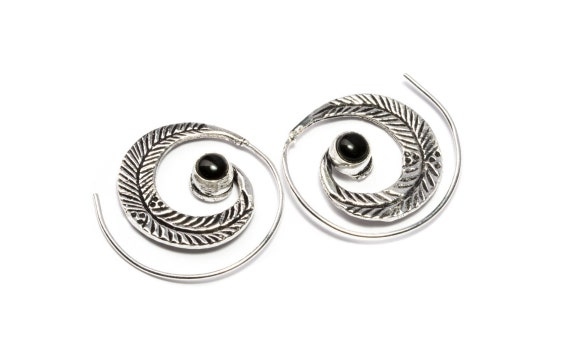 White Brass Small Feather Etched Spiral Earrings With Black Onyx Gemstone Tribal Earrings Mandala Jewellery Free UK Delivery WB40