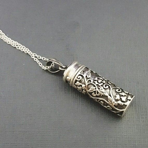 stash necklace sterling silver prayer box necklace silver