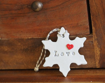 Love sign snowflake Christmas ornament -Clay snowflake decoration -Handmade Christmas decoration -Holiday decoration -Gift tag -Clay tag