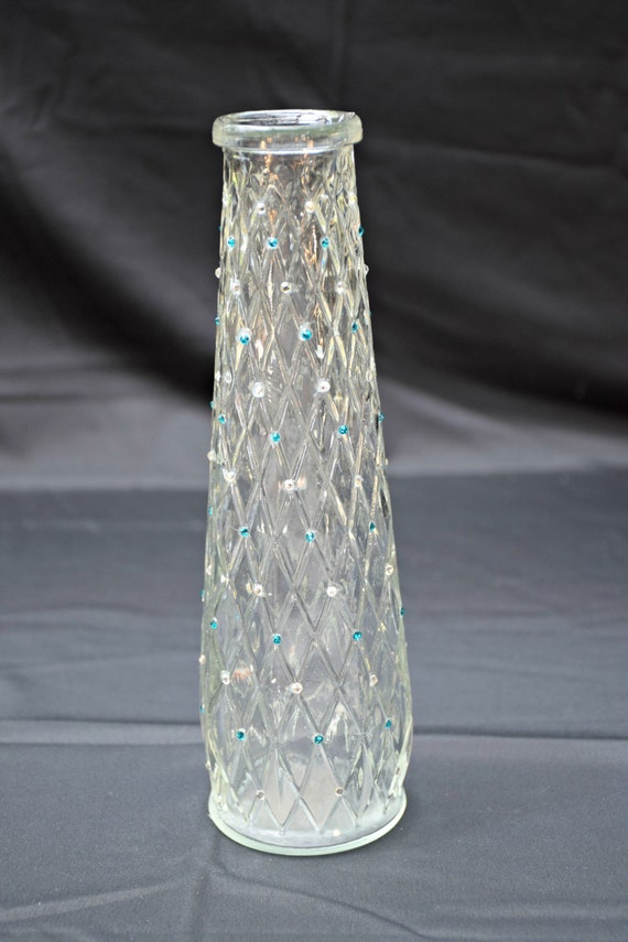 Vintage Vase Hand-Decorated with Turquoise and Silver Swarovski Crystals