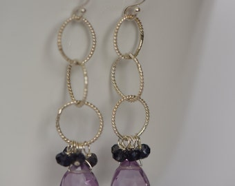 Amethyst and Iolite Earrings with Sterling Silver Chain