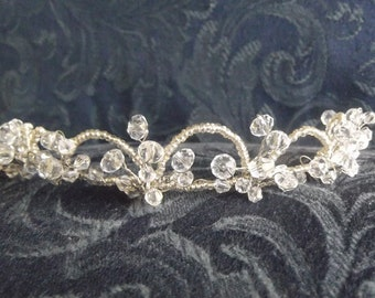 Handcrafted Pearl and Crystal Tiara, available in white or ivory with gold or silver wire.