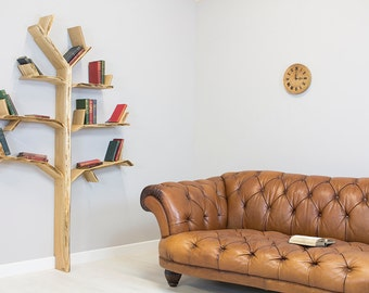 Wall Mounted Creativity Hand Made To Order In By BespOakInteriors - Corner tree bookshelf