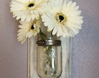 Rustic Mason Jar Wall Vase