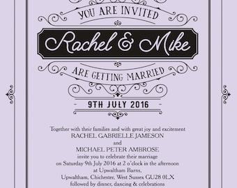 Personalised Lavender Lilac Elegant Vintage Wedding Invitation with envelope