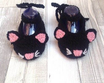Baby cat shoes, Girls kitty shoes, Baby pumps,Baby mary Janes, Crochet booties, Crochet cat,Photo prop, halloween , witch , Newborn gift