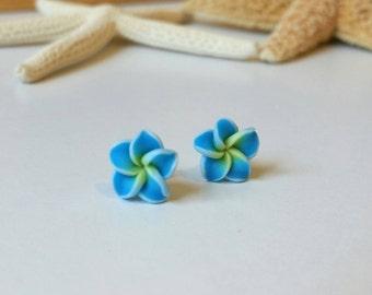 Flower Earrings, Hawaiian Flower Earrings, Stud Earrings, Beach Earrings, Plumeria Earrings