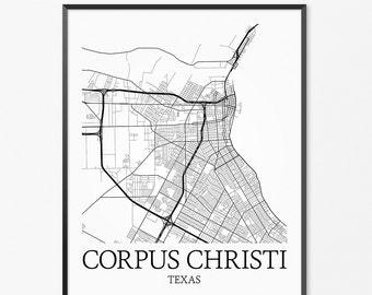 Corpus Christi Map Art Print, Corpus Christi Poster Map of Corpus Christi Decor, Corpus Christi City Map Art, Texas Gift, Texas Art Poster