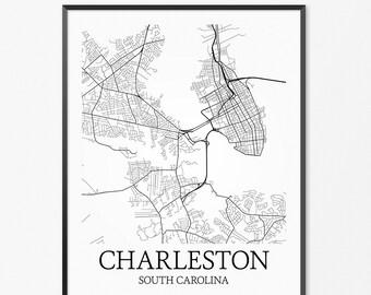 Charleston Map Art Print, Charleston Poster Map of Charleston Decor, Charleston City Map Art, Charleston Gift, Charleston Art Poster