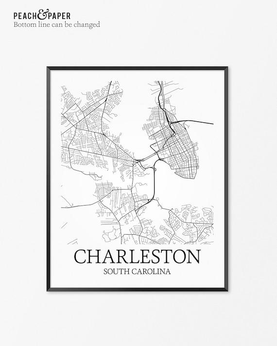 Charleston Map Art Print Charleston Poster Map Of Charleston