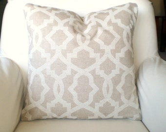 Tan Off White Decorative Throw Pillow Covers Cushions Tan Off White Geometric Sheffield Linen Look Pillows Couch Bed Tone on Tone, ALL SIZES