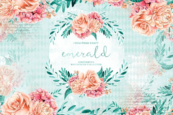 Handpainted Floral Clipart Peach and Mint Wedding Paper Pink