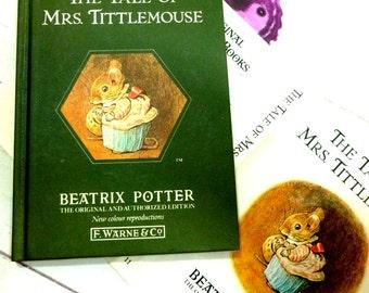 The Tale of Mrs TittleMouse by Beatrix Potter Beautiful Illustrations Vintage 1989 Hardback Book Dust Wrapper