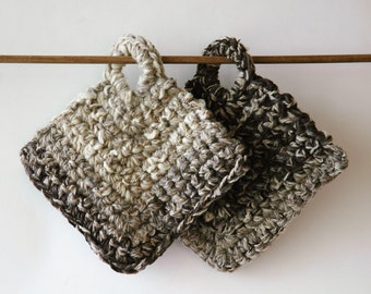 2 hanging pot holders / extra thick / handspun wool / natural browns / chunky knit trivet
