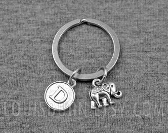 Elephant Key chain -Animal Keychain -Initial Keychain -Your Choice of A to Z