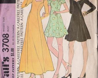 McCall's 3708 Vintage 1973 Dress Pattern