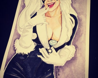 Black Cat original watercolor pinup