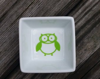 Square Ring Dish with owl design