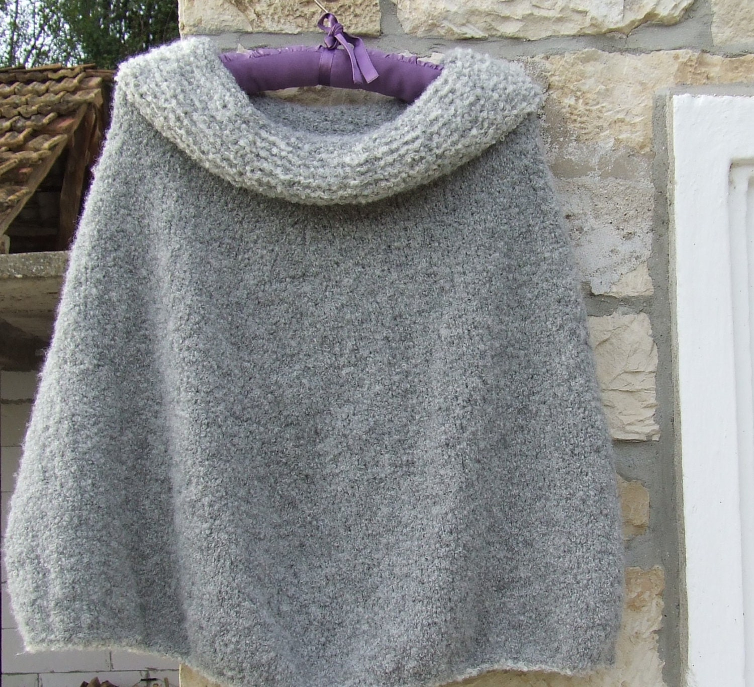 Cowl Neck Poncho Knitting Pattern : Hand knitted poncho Alpaca poncho Cowl neck poncho Chunky