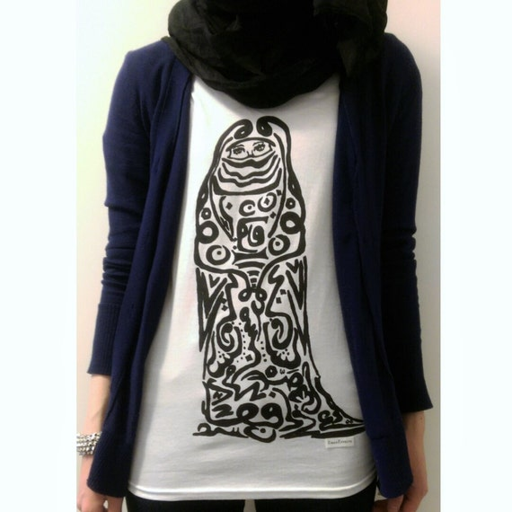 Sale Hipster Arabic Calligraphy Art T Shirt Top Hijab Burka