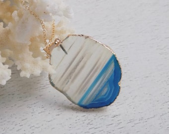 Agate Necklace, Blue Agate Necklace, Sliced Agate Pendant, Agate Slice Necklace, Agate Slice Pendant, Agate Gold Necklace, Gold Filled 4-206