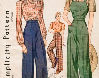 Vintage Sewing Pattern 1930s 1940s rosie the riveter overalls, slacks, blouse bust 36 b36 bust 30 b30 repro reproduction