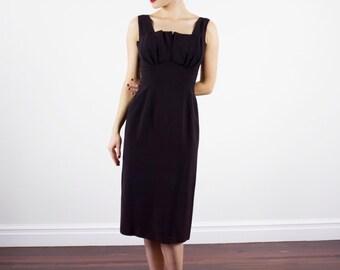 Vintage 1950s Black Dress / Petal Shelf Bust / Wiggle Dress / Little Black Dress / XS/S
