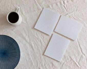 Mixed Set of 6 Sashiko White Series Letterpress Notecards