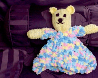 Knit Baby Blanket Bear Buddy/12 in/Gender Neutral Colors/Soft Stuffed Animal