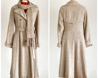 Tweed princess cut double breasted coat with matching scarf