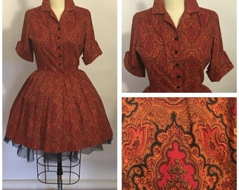 Vintage 1950s Cotton Day Dress Paisley Party | Mad Men Full skirt Coquette