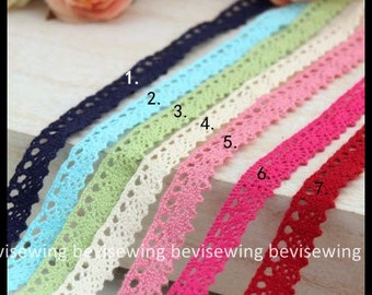 One Yard Lace Trims 1.2cm Wide,Embroidery crochet , Scalloped, 7 Colors in