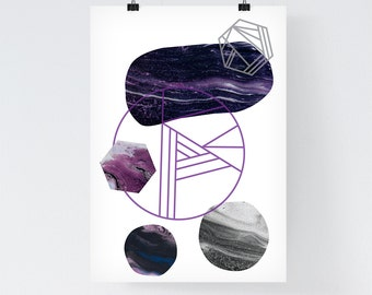 Geometric Print, Abstract Art, Purple Marble Print, Minimalist Art, Scandinavian Print, Mid Century Print, Abstract Poster, Minimal Print
