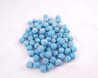 Blue Acrylic Round Beads W/ Silver Dotted Spiral Pattern Approx 147 pcs 9.5mm