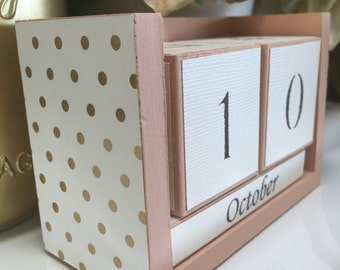 Perpetual desk calendar, wooden block calendar, light beige perpetual calendar, beige calendar with white and gold polka dot paper.