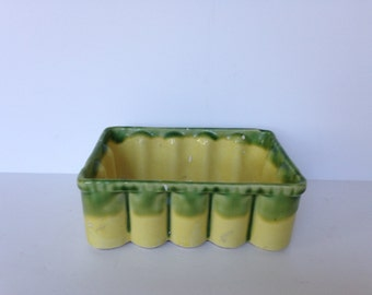 Vintage Green and Yellow Planter 145 Scalloped Edges