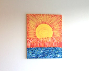 Sun Painting, Sunset Art, Abstract Art, Impressionism Painting, Gift for her, Gift for him, Wall Art, Wall Painting, Sky Art, Wall Decor